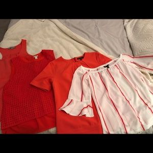 4 Tops in 1!!!!! Amazing coral/red color!
